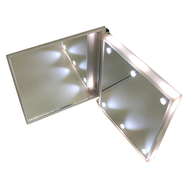 Mirror With 6 LEDs Cosmetic Mirror with Touch Dimmer Switch Battery Operated Stand for Tabletop Bedroom Travel Squre