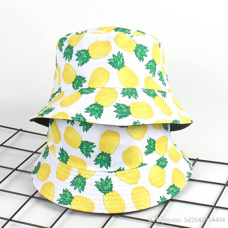 b784a625a97 2018 Cotton Pineapple Print Bucket Hat Fisherman Hat Outdoor Travel Hat  Foldable Sun Cap Hats For Men And Women 558 Cowgirl Hats Fishing Hats From  ...