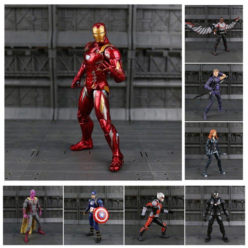 b4c233da59 Compre Iron Man Capitán América Pantera Negra Soldado De Invierno Hormiga  Halcón Escarlata Bruja Visión Hawkeye Figura De Acción Modelo Juguetes N033  A ...