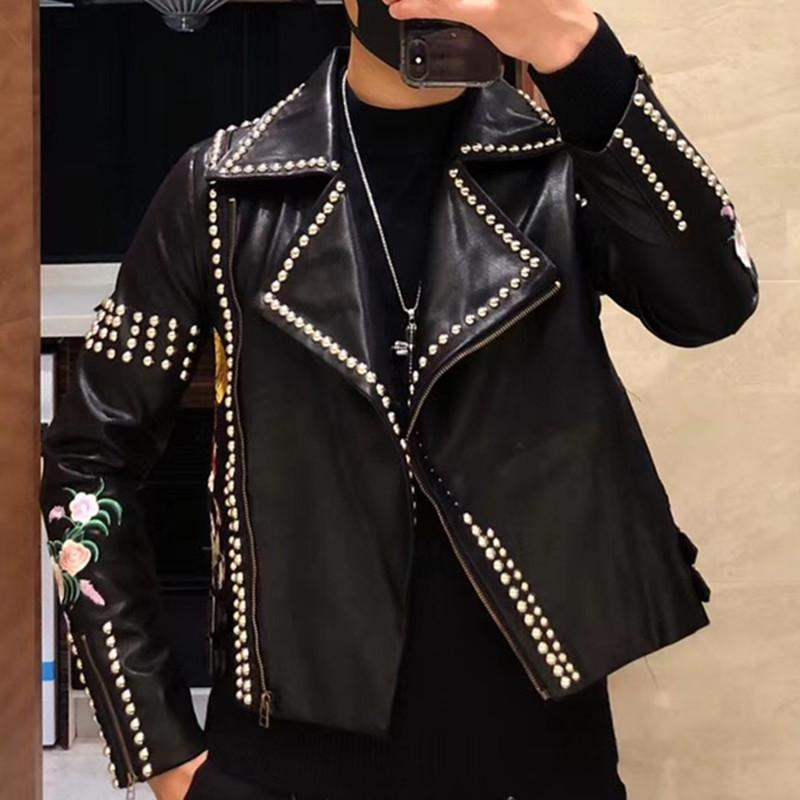 2e61dec325f00 2019 2018 Plus Size Men Autumn Winter Rivets Beadings Flower Embroidery  Short Motorcycle Faux Leather Jacket Slim Punk Bomber Jacket From Caeley,  ...
