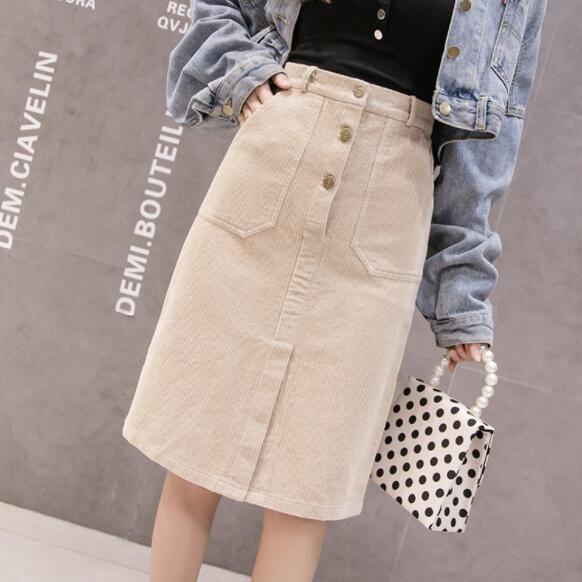 0ca482ed24 2019 Elegant Corduroy Skirts Womens High Waist Button Midi Skirt Plus Size  Harajuku Ladies Skirt Jupe Femme DV805 From Suroise, $24.28   DHgate.Com