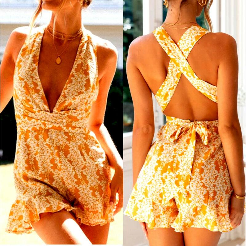 Summer Women Sleeveless HIgh Waist V Neck Print Backless Hollow Out Ruffless Beach Holiday Casual Boho Sexy Playsuits Rompers