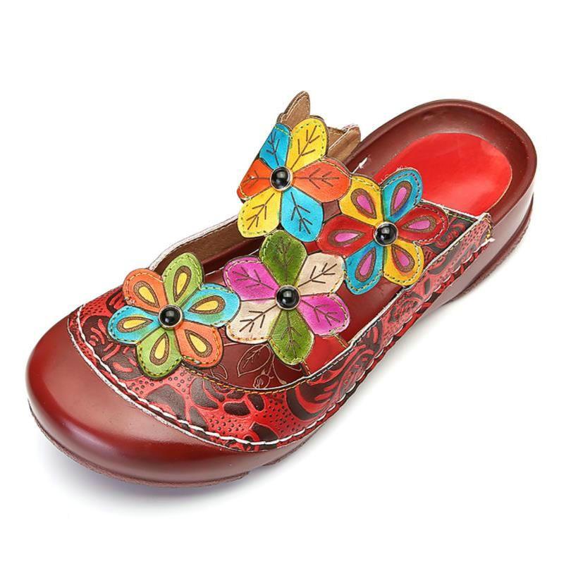33946fca2 Genuine Leather Flower Pattern Flat Bottom Handmade Sandals Color Round  Head Super Comfortable Casual Women S Platforms Sandals Sandels Sparx  Sandals From ...