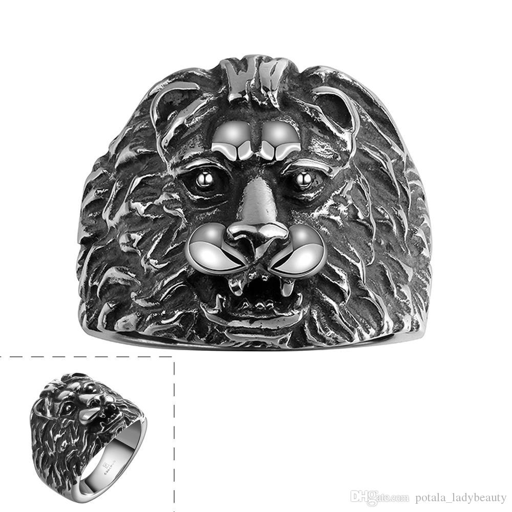 Lion Head Punk Rings Hiphop Rocker Rock&Roll Band Ring Stainless Steel Unique Handsome Style Jewelry For Men's Cool Birthday Gifts POTALA099