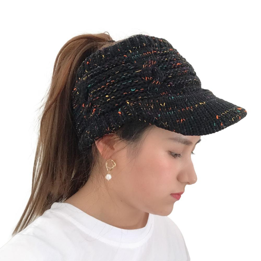 f63a3d96c Women winter Warm knitted hat with brim Elastic Visor Ponytail Beanies caps  with the peak