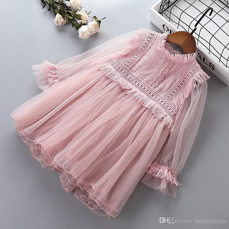 Girl princess lace dresses baby girl party ball gown dress spring autumn children clothing for 2-8 years old kids clothes