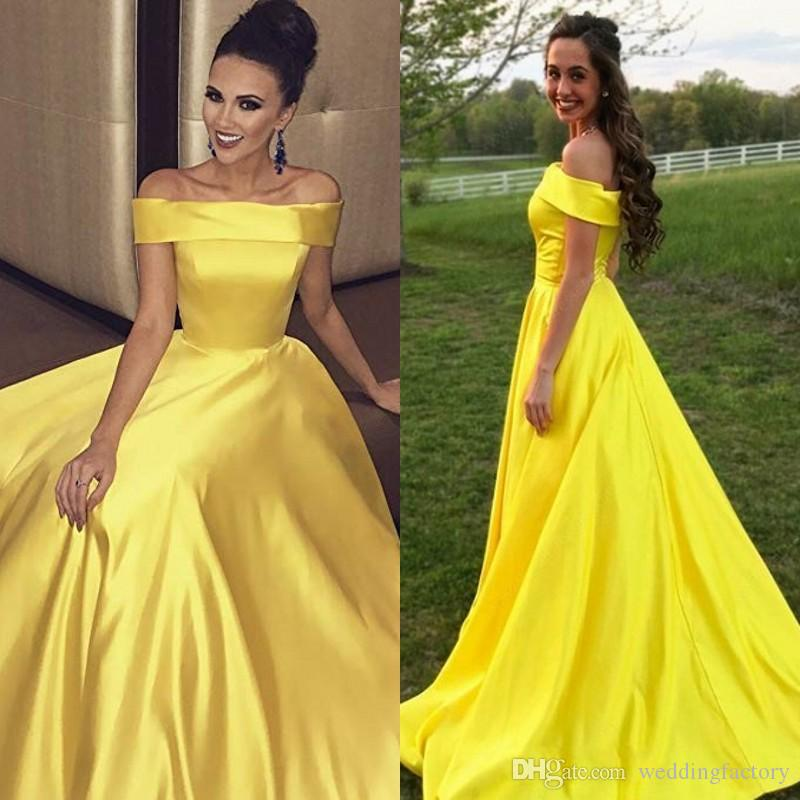 b2729caa2a 2019 Fashion Prom Dresses Simple Elegant Off The Shoulder Plain Satin Long  Formal Evening Party Gowns With Pockets Zipper Up Back Lace Long Dress  Lavender ...