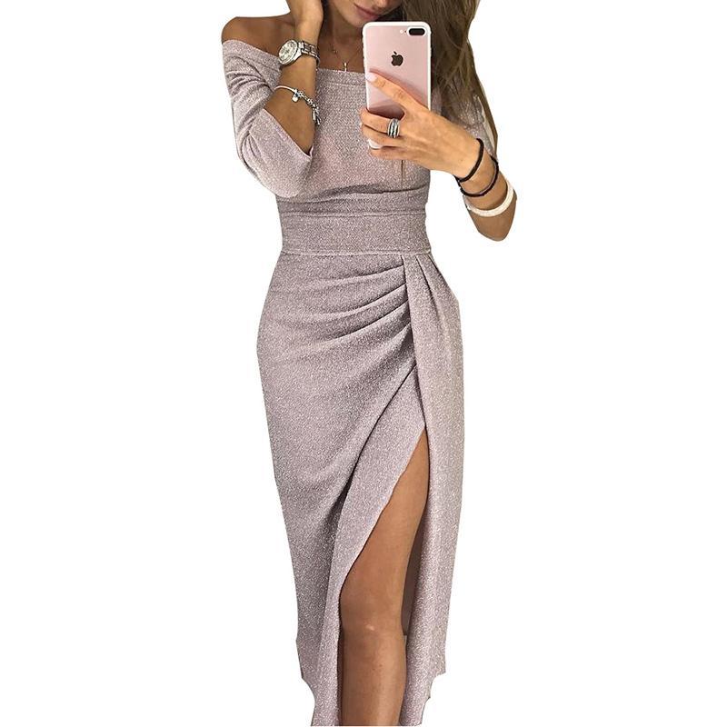 e26bb2707805a Femmes Robe De Soirée 2019 Sexy Épaule Robe Moulante Élégante À Manches  Longues Haute Fente Longue Maxi Robe Robes Mujer Plus La Taille