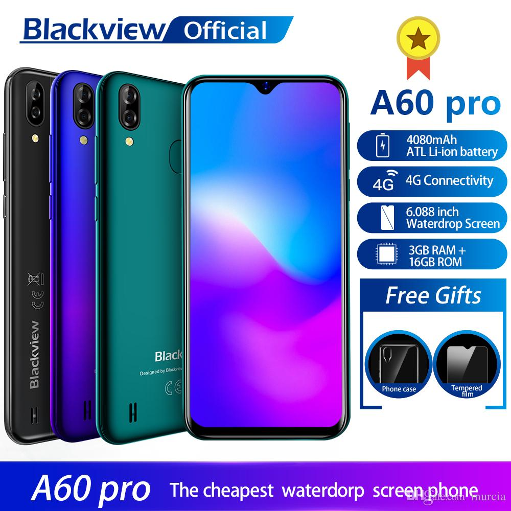 Blackview A60 Pro Smartphone MTK6761 Quad Core Android 9 0 4080mAh  Cellphone 3GB 16GB Waterdrop Screen Face ID 4G Mobile Phone