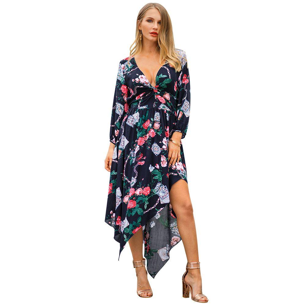 59875cec62 Women Designer Maxi Dresses Clothes Dresses Sexy Short Dress Women  Jumpsuits Rompers Women S New Dress Spring Print V Neck Fashion Clothes  White Summer ...