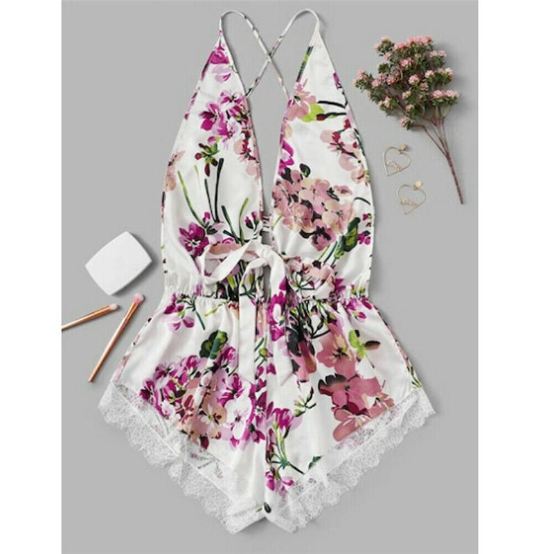 Summer Women Flower Printer Deep V Ladies Rompertjes Body Suit Night Clothing Lady Bodysuit Strike Night Clothing Jumpsuit