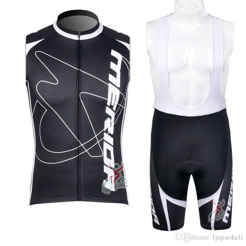 2019 MERIDA Pro Men team Cycling Sleeveless jersey Vest set summer quick dry Cycling Clothes Sleeveless road bicycle tops K061203