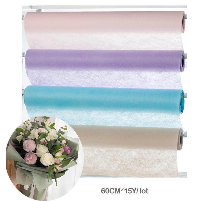 60cm 10y Lot Non Woven Floral Wrapping Tissue Paper Bouquet Flower Wrapping Paper Fiber Texture Florist Packing Suppliers