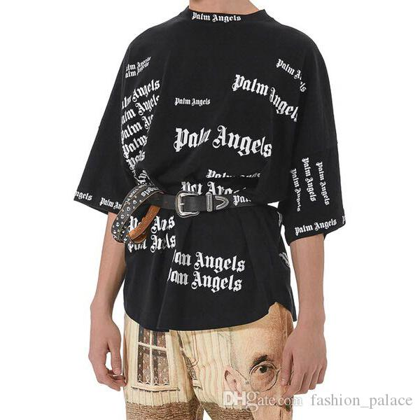 d381038687fb1a Palm Angels T Shirt Men Women Letter Print Short Sleeve Oversized Tee Palm  Angels Hip Hop Black Tee Club Tops Streetwear SHH1208 Online Tee Shirts  Shopping ...