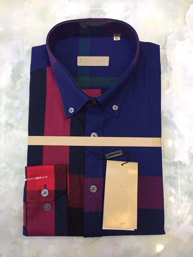 930340f3e0 Compre Camiseta De Los Hombres Moda De Lujo Camisas De Manga Larga Para Hombre  Camisas De Vestir Hombre Camisa De Algodón Camisa Slim Fit Polo De Alta ...