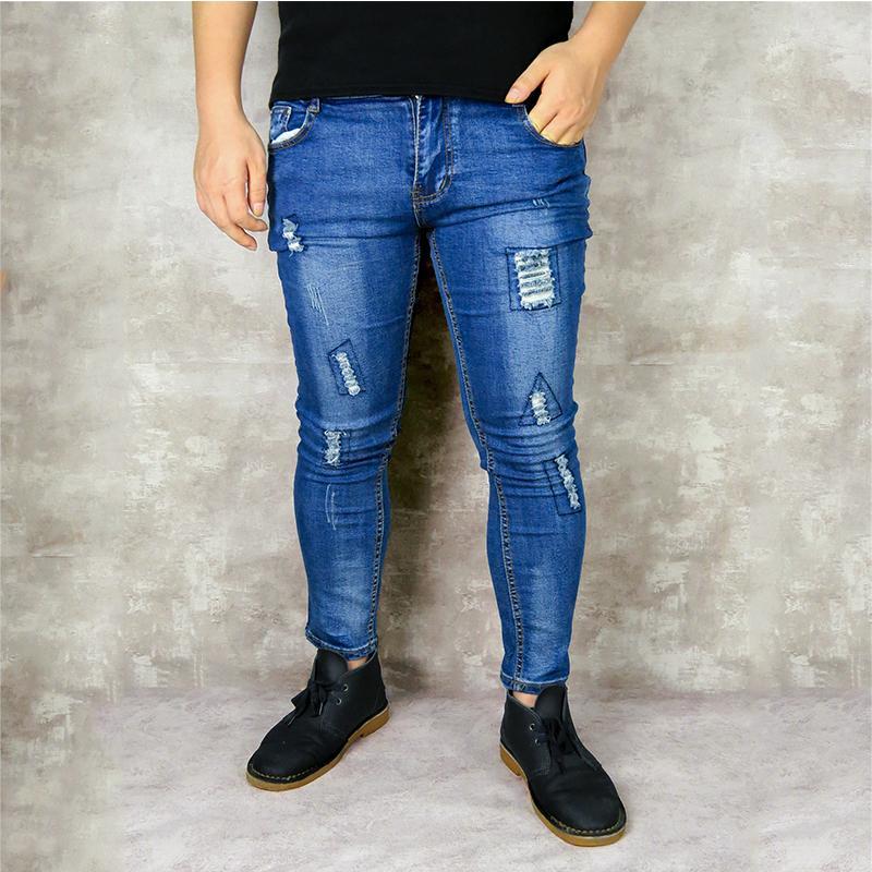 dc100fccce330 Compre Pantalones Vaqueros Para Hombre De La Marca Pantalones Vaqueros  Delgados Pantalones Casuales Pantalón De Mezclilla Negro Elástico 2019  Pantalones De ...