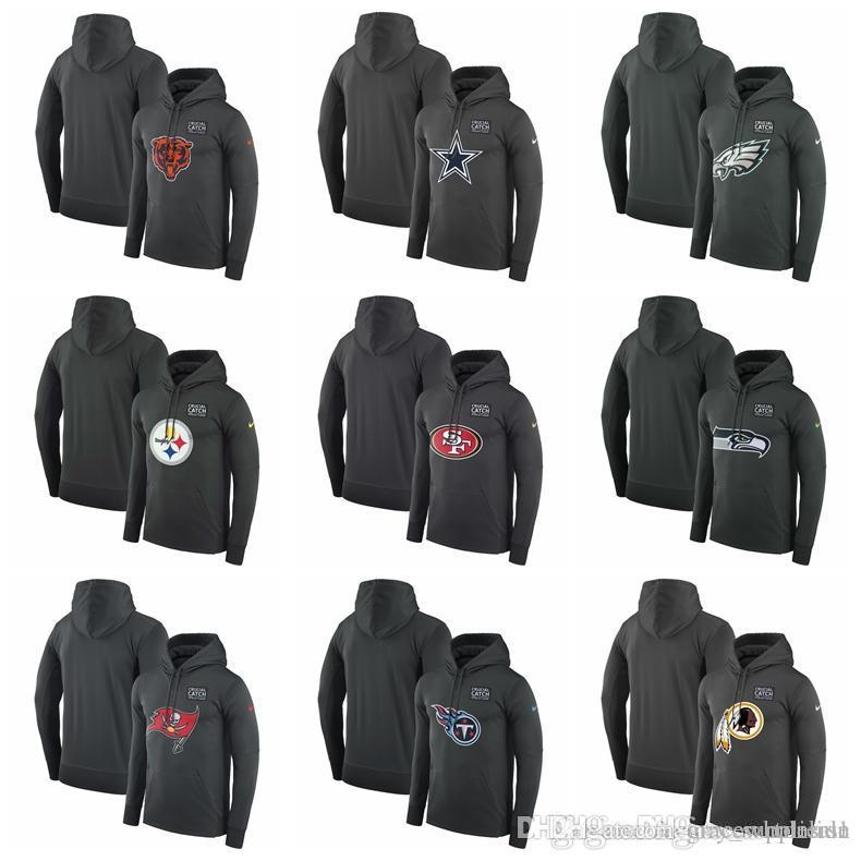 2018 MEN Philadelphia Eagles Pittsburgh Steelers 49ers Seattle Seahawks  Buccaneers Titans Redskins Crucial Catch Performance Hoodie Anthracite From  ... 3907b8a30
