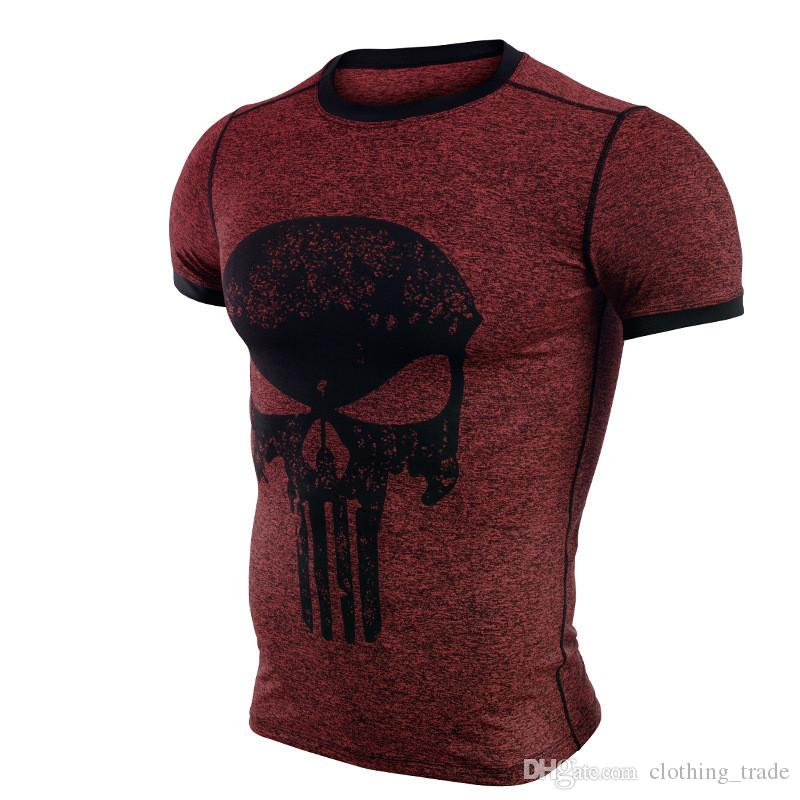 Cool Fitness Compression Shirt Men Punisher Skull T Shirt Superhero Bodybuilding Tight Short Sleeve T Shirt Brand Clothing Tops