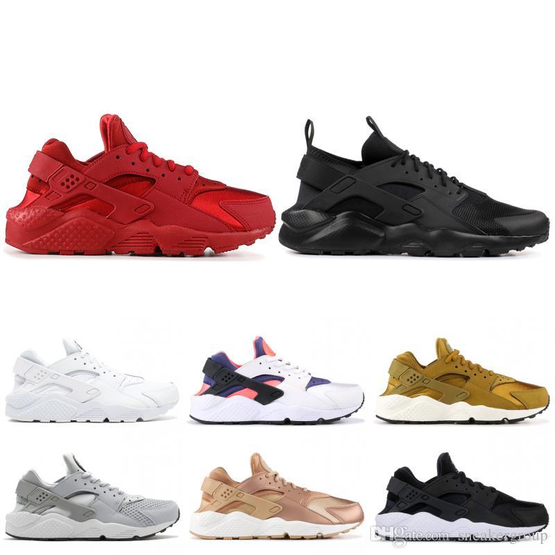 best sneakers 7f78d 9edd0 2019 Brand Huarache Run 1.0 4.0 Stripe Black Grey Bronzine Running Shoes  New Men Women Designer Sport Sneakers Size 36-45