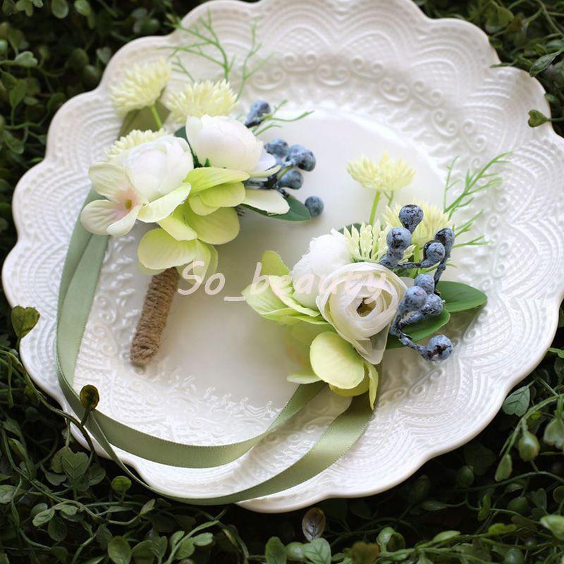 Wedding Flowers Bride Wrist Corsage Groom Boutonniere White Rose