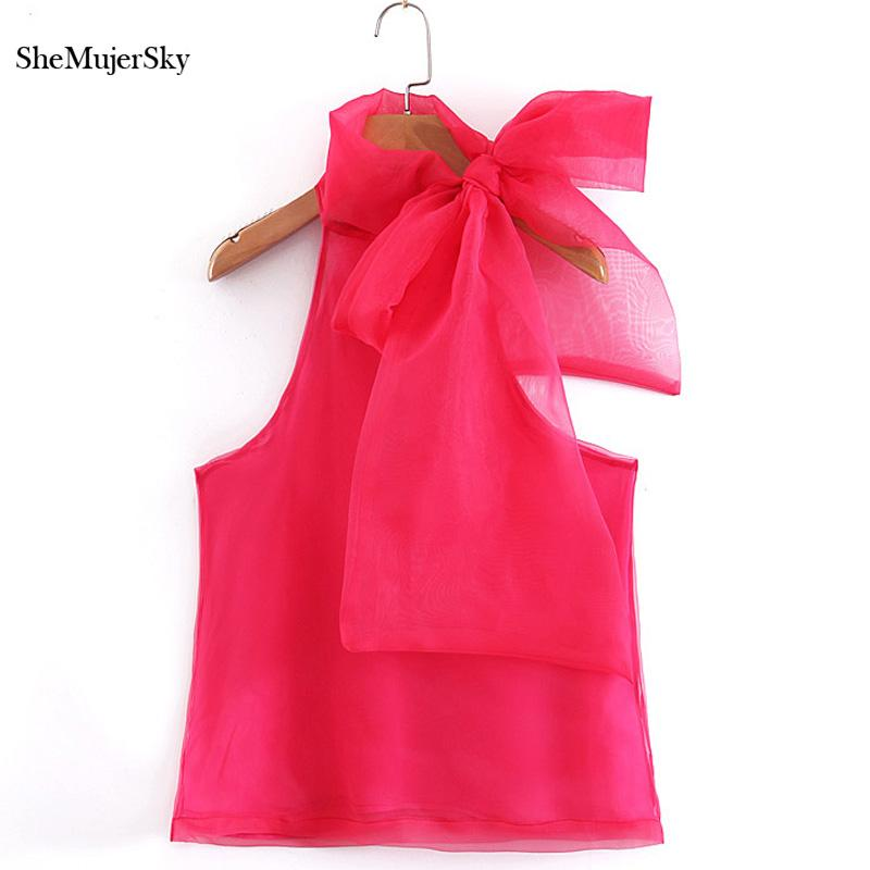 6fab5d71fc18 Blusa de gasa roja de Shemujersky Mujeres con bowknot sin hombros Tops  Damas sin mangas Camisas de verano Top coreano