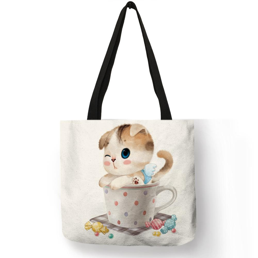 e6663861b60 Cute Design Handbags For Girls Funny Cup Baby Cat Animal Prints Tote Bag  Eco Linen Practical Shopping School Ladies Shoulder Bag Leather Purse  Womens Purses ...