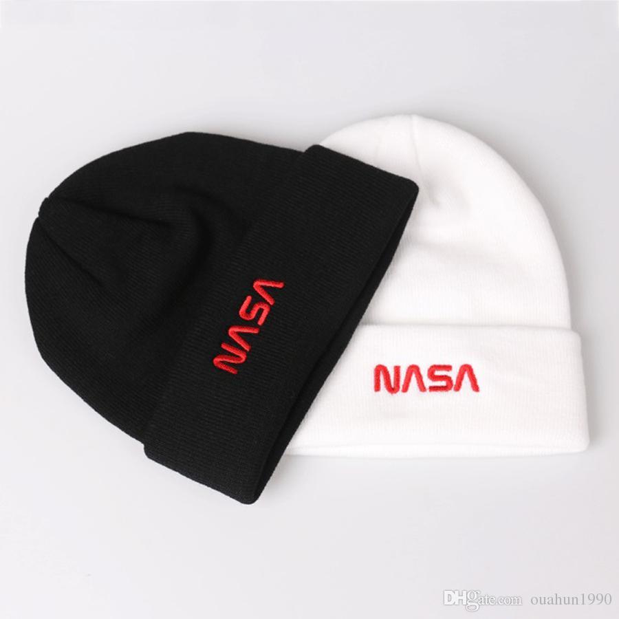 NASA Beanies Embroidery Knitted Winter Hats For Women Men Bonnet Hip Hop  Boys Girls Ladies Caps Cashmere Skull Harajuku Punk Street Fashion Canada  2019 From ... 3e4ea3ea875