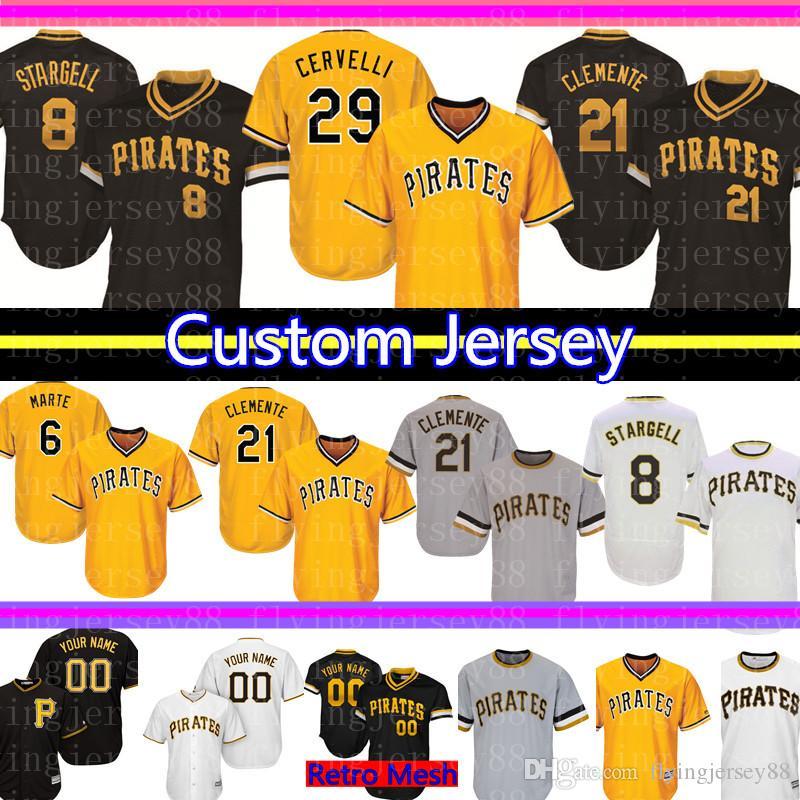 aaf7d7b21 2019 8 Willie Stargell Custom Pittsburgh Mens Pirates Jersey 21 Roberto  Clemente 27 Tekulve 29 Francisco Cervelli 6 Marte 24 Glasnow Baseball From  ...