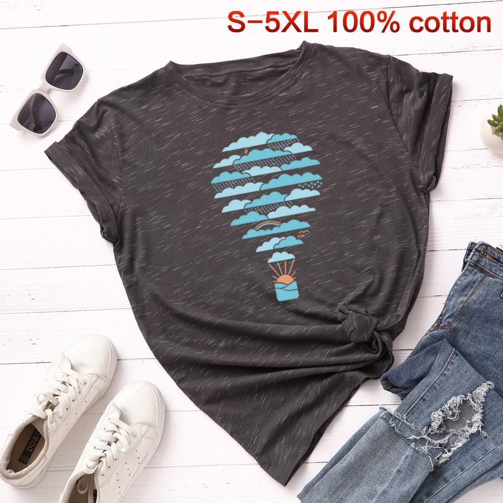 SKOONHEID Summer Print Cotton Women Tee Shirt Loose Short Sleeves Casual Basic Cloudines Tops Harajuku Large Size Clouds T-shirt