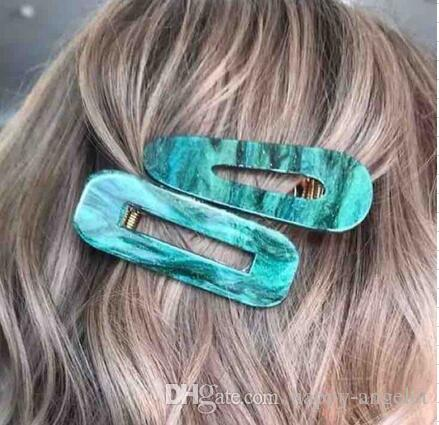 Acrylic Hair BB Clip Snap Barrette Accessories Hairpin Girls Boutique Acetic Acid Rectangle Waterdrop Hairgrip Gift package FJ902