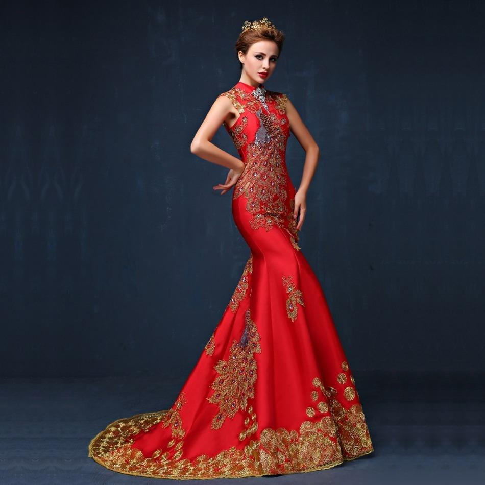 2019 2016 Luxury Red Embroidered Chinese Evening Dress Long Cheongsam Bride  Wedding Qipao Mermaid Host Dresses Oriental Qi Pao D19011601 From Shen06 0f6f4ca89f24