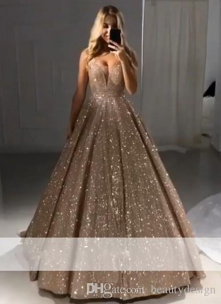 2019 Sexy Sparkly Shiny Gold Ball Gown Prom Dresses V Neck Sequin Zipper  Back Evening Dresses Formal Party Gowns Custom Made Glitz Prom Dresses  Greek Style ... 411ac243a1e1