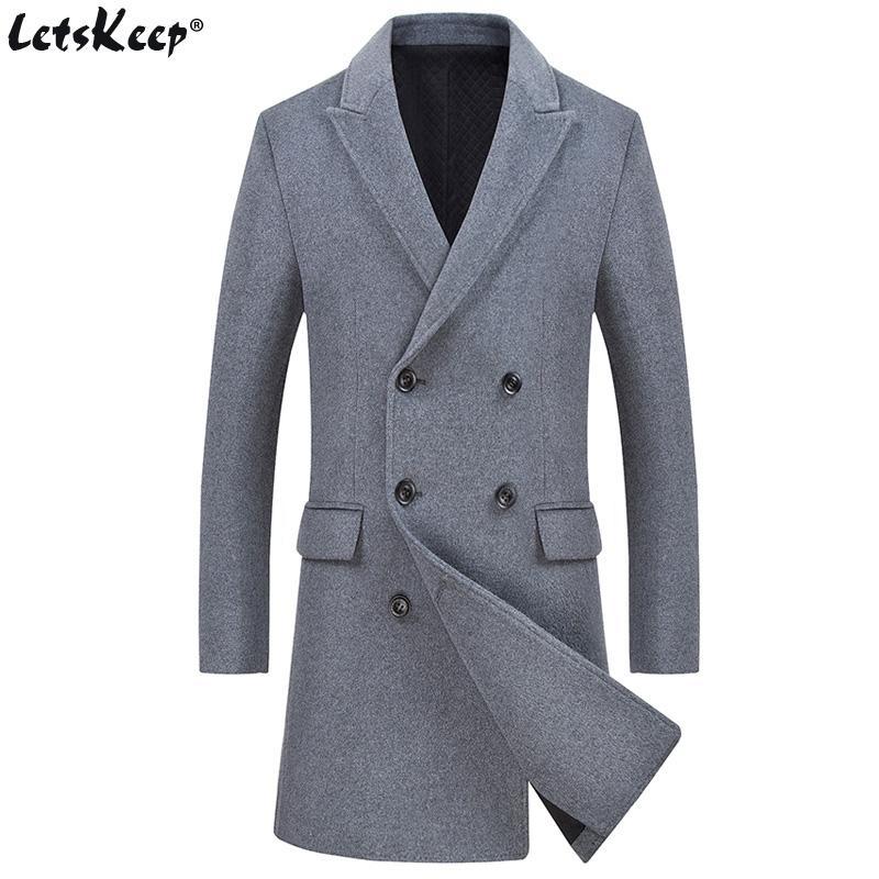 b47fe224b08 LetsKeep Winter Woolen Overcoat Men Thick Mens Long Wool Trench Coat  Windbreaker Double Breasted Pea Coat Plus Size