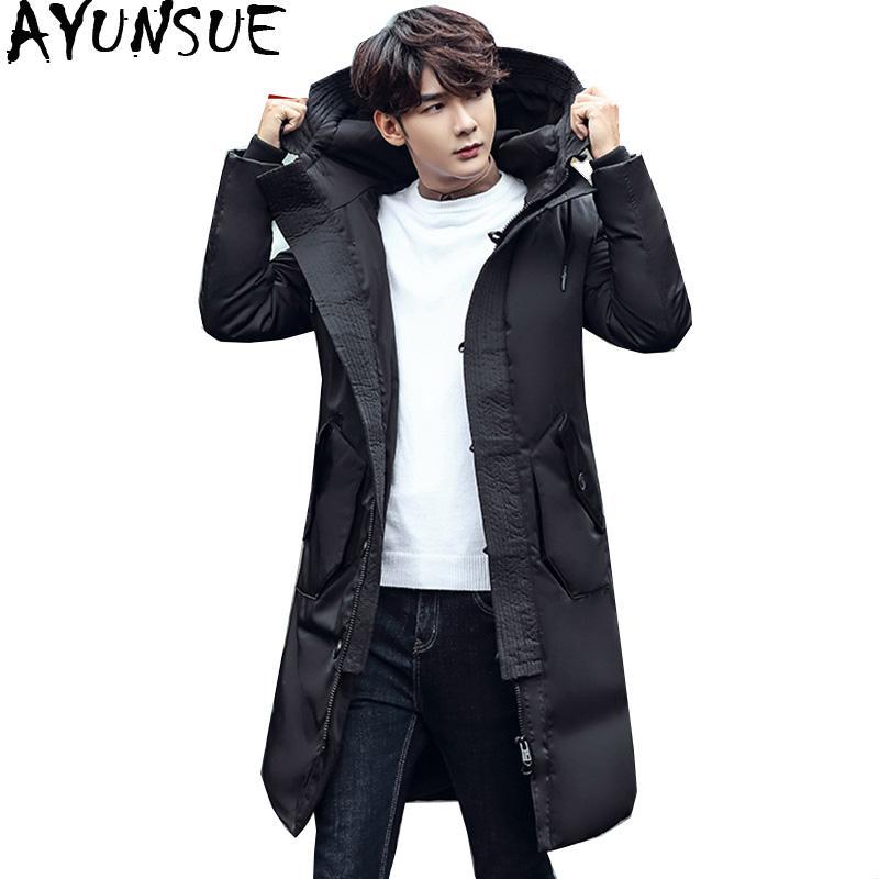 da8d29eab AYUNSUE Winter Jacket Men Long Down Jacket Male Thick Parka Slim Korean  Black Coat Mens Clothing Overcoat Casaco Masculino KJ505
