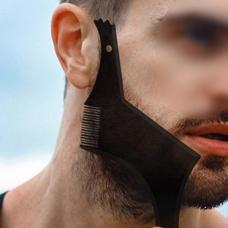 New Upgrade Beard Shaping &Styling Tool With Inbuilt Comb For Perfect Line Up &Edging Men's Facial Hair Style Stencil Beard Comb
