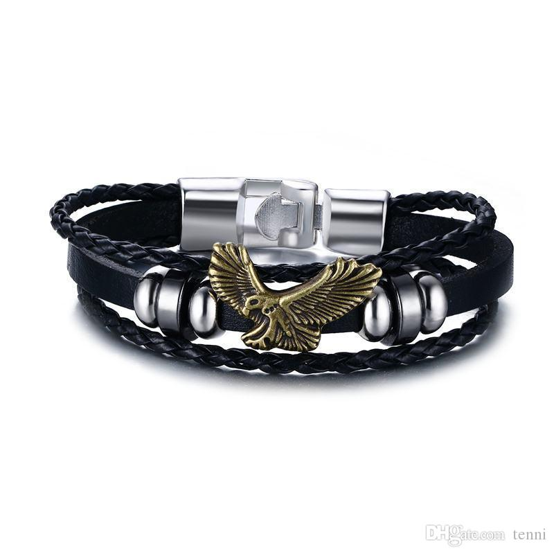 c5fb1a838 Eagle Flying Men Bracelet Beaded Charms PU Leather Bracelets ...