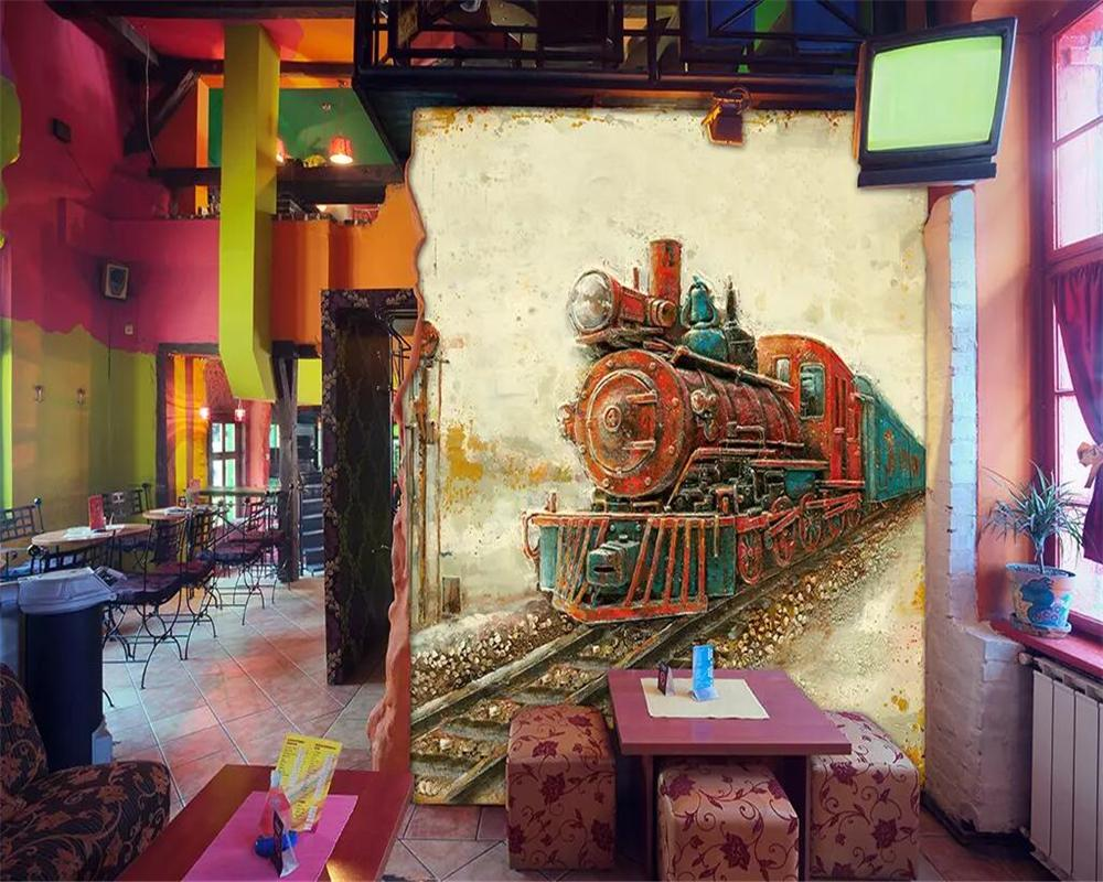 Custom wallpaper locomotive oil painting background home decoration 3d living room bedroom mural TV