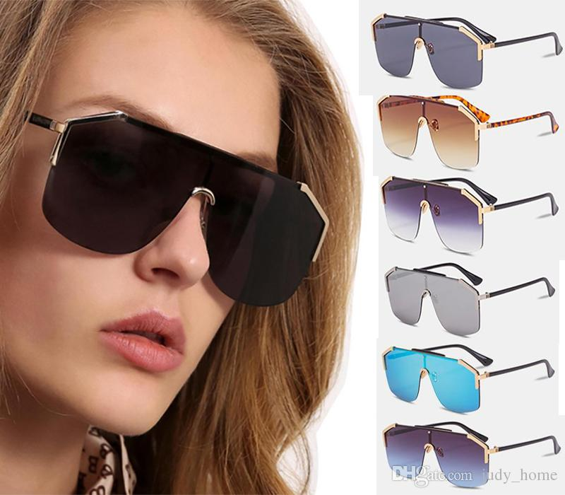 9844458a25f Half Metal Big Frame Gradient Shades Oversize Sunglasses Square Brand  Designer Vintage Women Fashion Sun Glasses Oculos De Sol UV400 JH GO43  Police ...