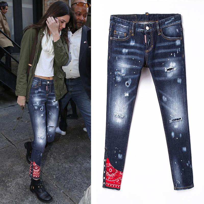 2019 donne Cool Skinny Fit Jeans Lady Painted Bleach Washed Worn Ripped Red Patch Cowboy Pants spedizione gratuita