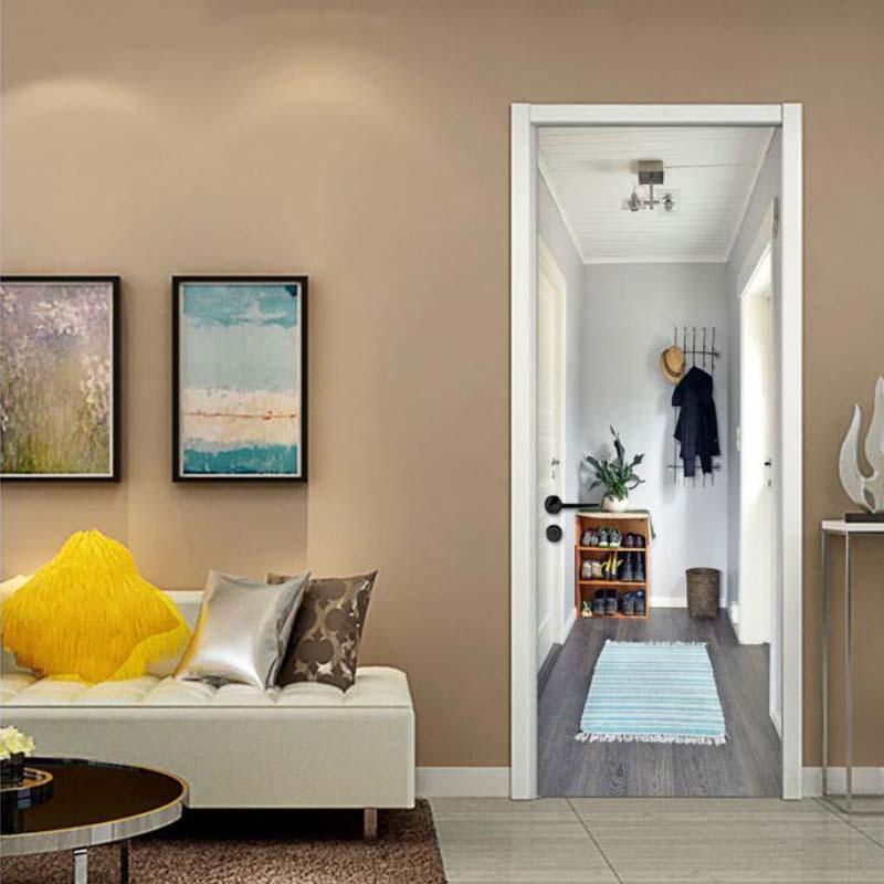 3D Door Sticker Wall Painting Soggiorno camera da letto Wallpaper fai da te  Autoadesivo impermeabile rimovibile sfondo murale