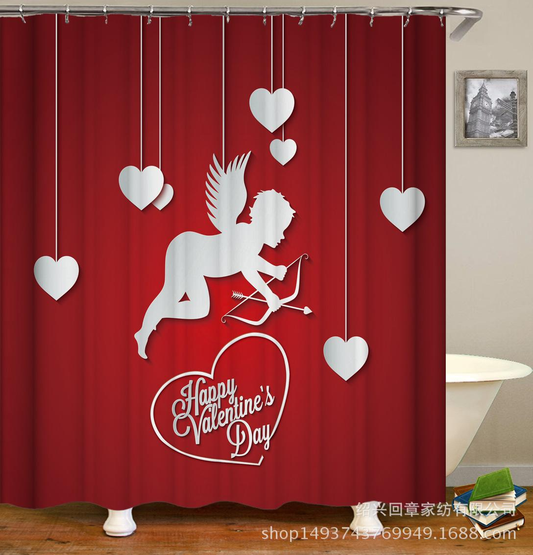 2019 Memory Home Happy Valentines Day Shower Curtain Waterproof Polyester Fabric Bathroom Red Mug I Love You Bath Decor Curtains From China Wholesale20