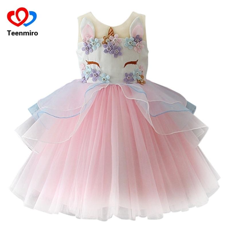 ac1024d9831b7 Fancy Kids Unicorn Tulle Dress For Girls Embroidery Ball Gown Baby Flower  Girl Princess Dresses Wedding Party Costumes Unicornio Q190522