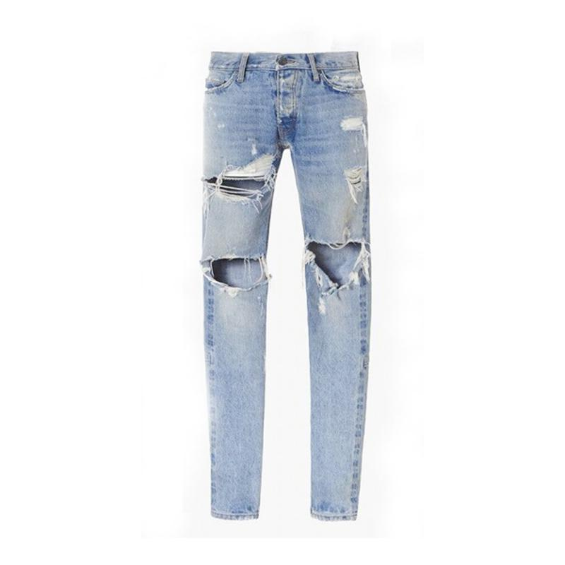 03bcf31061d5e Best Version Fear of God FOG Man Selvedge Zipper Destroyed Skinny Slim Fit  Justin Bieber Vintage Ripped Blue Denim Jeans Online with  63.24 Piece on  Wudai s ...