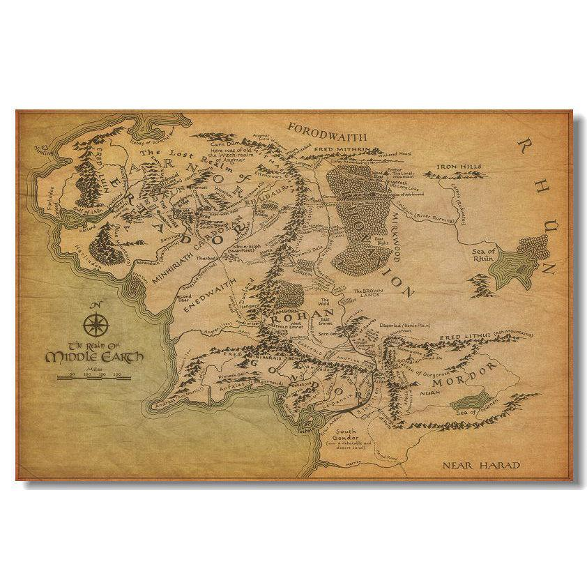 Map Of Middle Earth Map The Lord Of The Rings Movie Art Silk