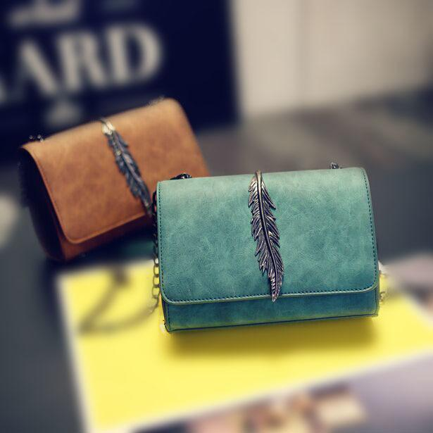 Leaves Decorated Mini Flap Bag Suede Pu Leather Small Women Shoulder Bag Chain Messenger Bag Autumn New Arrival 949