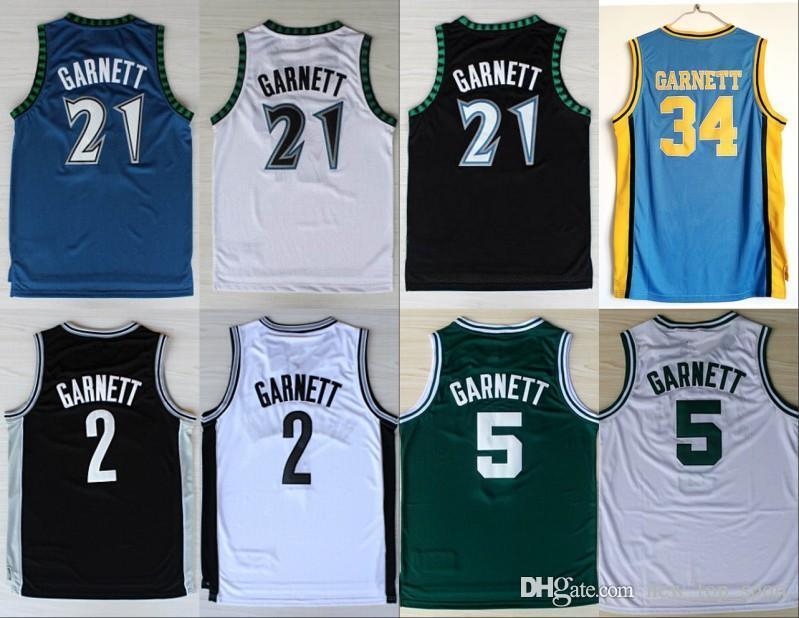 56e0333cf NCAA New Minnesota 21 Kevin Garnett Jersey Timberwolves 5 Fashion Rev 30 2  Shirt Uniform Black Blue White Green Pure Cotton Online with  30.21 Piece  on ...
