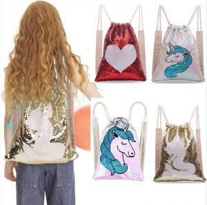 662066c649 2019 Unicorn Heart Sequins Mermaid Drawstring Backpack Kids Reversible  Changable Outdoor Sports Magic Shoulder Bag Home Storage Bag AAA1737 From  Best sports ...