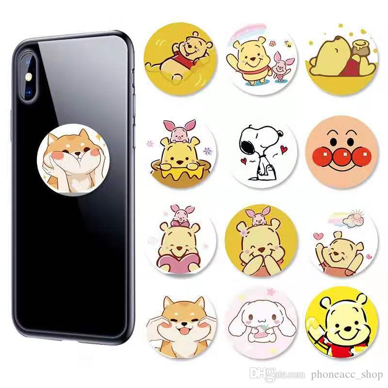 Universal 360 Degree Cartoon Bear Cell Phone Holder Phone Stand Real 3M Glue Expandable Grip Finger Stand Flexible For iPhone Samsung
