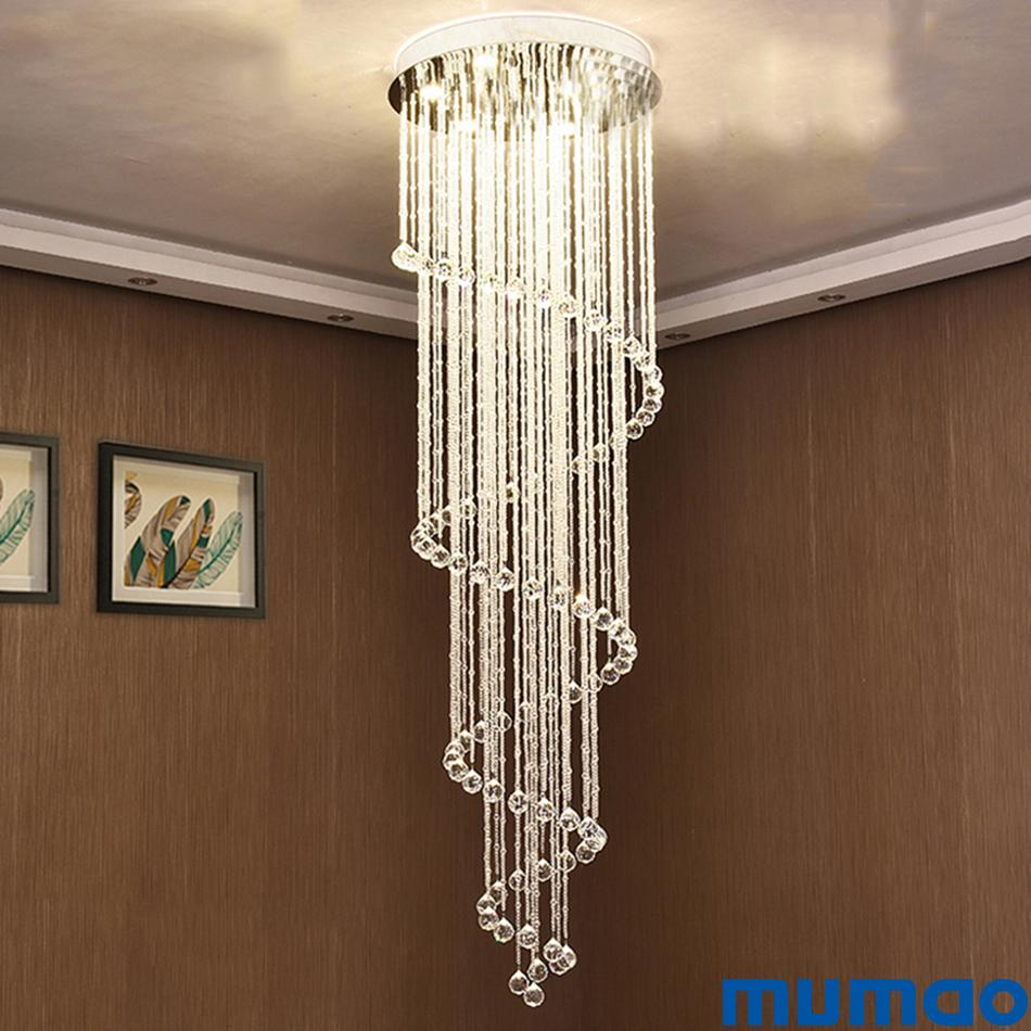 Modern LED Crystal Chandeliers Lighting Fixtures Dining Room Stairs  Chandelier Hanging Lamps Indoor Home Ceiling Pendant Lights Fixture