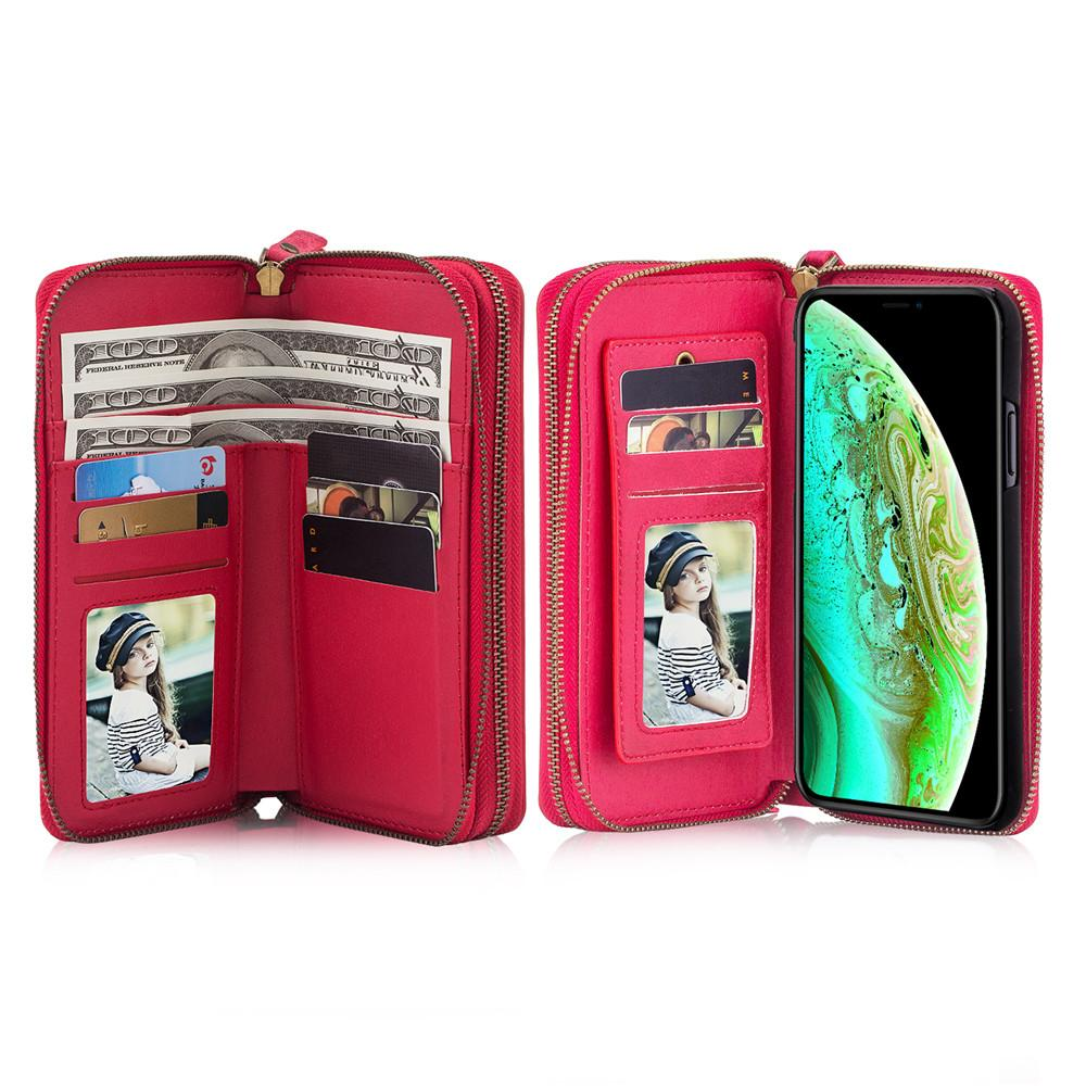 new arrival a08db f2645 Luxury Zipper Wallet Case with Detachable Back Cover Card Slots Purses  Mirror Case for iPhone 5 5S SE 6 6S 7 8 X XR XS MAX